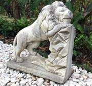 Sale 8706A - Lot 11 - A carved marble lion statue, general wear, aged, general wear, slight chipping on base, H 70 x W 66cm