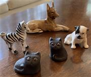 Sale 8510A - Lot 57 - A Royal Doulton boxer puppy dog together with an unmarked kelpie, a zebra and two Danish cats by Thysson