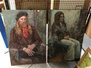 Sale 8759 - Lot 2054 - Pair of 70s Portrait Paintings by an Unknown Artist, 91.5 x 61m