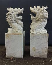 Sale 8772A - Lot 34 - A Vintage Pair Carved Stone Dragon Statue  /  Finials General Wear Some Chipping, Size 60cm H x 20 cm W