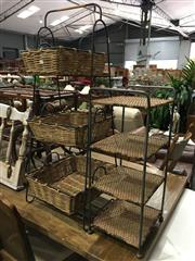 Sale 8851 - Lot 1070 - Metal and Seagrass Stands x 2