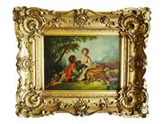 "Sale 8888H - Lot 86 - 'The lovers"" Antique French oil on board in ornate gilt frame unsigned 22 x 29 cm"