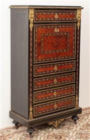 Sale 8912H - Lot 23 - An antique French Abbatant Secretaire Chest C: 1880. The surface profusely inlaid with mother of pearl, Kingwood and panels of Birds...