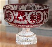 Sale 9055H - Lot 21 - A ruby-cased Bohemian crystal footed bowl with typical continental decoration of birds and castles. D:20cm
