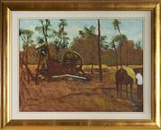 Sale 9087H - Lot 92 - Ray Crooke (1922 - 2015) - Stockman with Horse, Far Nth Qld. 44.5 x 60 cm (frame: 62 x 78 x 3 cm)