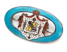 Sale 9099 - Lot 69 - A silver and enamel heraldic crest brooch with knight and key decoration. damage to enamel. width 4.5cm