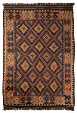 Sale 9123J - Lot 303 - A vintage Kilim rug, the diamond pattern within the central panel surrounded by a repeating geometric border over a tawny coloured g...