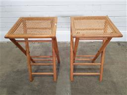 Sale 9174 - Lot 1029 - Pair of timber & cane folding tables (h: 68cm)