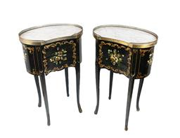 Sale 9200P - Lot 90 - A pair of vintage French Paris apartment kidney shaped side tables, with fitted marble tops and black lacquer finish with  painted d...