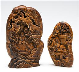 Sale 9253 - Lot 427 - Two carved Chinese stone ornaments (H:12cm and 16cm)