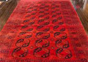 Sale 8222 - Lot 22 - A large Persian rug on claret base, with repeating geometric form, W 264 x 441cm
