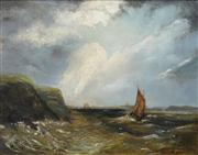 Sale 8526 - Lot 561 - Attributed to James Haughton Forrest (1826 - 1925) - Untitled (Boat off the coast) 35 x 45cm