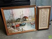 Sale 8548 - Lot 2069 - P.Straat Fishing Boats Framed Oil on Board SLL with a Framed Tapestry