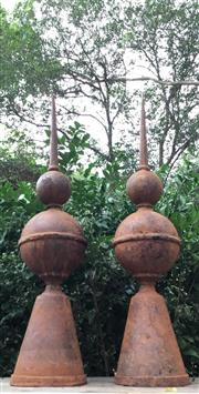 Sale 8706A - Lot 12 - A pair of rust large cast iron finials / spires, general wear, surface rust, H 92cm