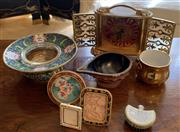 Sale 8510A - Lot 58 - A small quantity of cloisonne and other metal wares including a clock by Angelus, miniature frames, a vase and gravy boat
