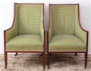 Sale 8912H - Lot 24 - A pair of antique English mahogany armchairs C: 1900, the successionist wing back chairs upholstered in green finely self patterned...
