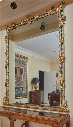 Sale 9097H - Lot 30 - A C19th continental carved and gilt mirror of generous proportions with leaf and vine decoration, Height 180cm x Width 160cm