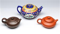 Sale 9098 - Lot 266 - Group of three Chinese teapots together with inside painted ball on stand