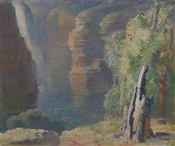 Sale 9161 - Lot 509 - ARTHUR MURCH (1902 -1989) Mountain Gorge oil on canvas on board 37 x 45 cm (frame: 55 x 63 x 4 cm) signed lower right, inscribed ver...