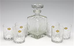 Sale 9253 - Lot 190 - A lead crystal drink suite incl. decanter (H: 24cm) and six tumblers