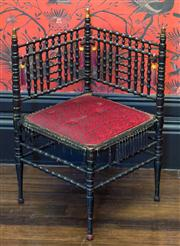 Sale 8222 - Lot 59 - A Middle Eastern turned timber corner chair, H 75cm Film Provenance; Moulin Rouge, 2001
