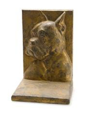 Sale 8256A - Lot 13 - An antique French bulldog cast iron door stop, H 14cm