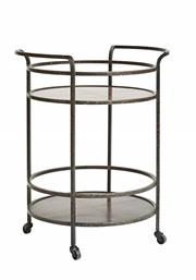 Sale 8261A - Lot 39 - A Retro Drinks Trolley, in steel with copper top finish, D 65 H 88cm