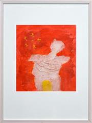 Sale 8325A - Lot 107 - Erica Rutherford (1923 - 2008) - Figure on Orange 38.5 x 34.5cm