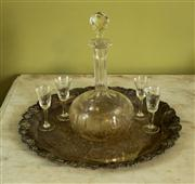 Sale 8418A - Lot 63 - An silver plated tray with vine border together with a cut glass decanter and sundry sherry glasses, D of tray 35cm
