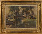 Sale 8434 - Lot 600 - Dirk Twaalhoven (1896 - 1990) - Country Cottage and Stream 29 x 39.5cm