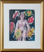 Sale 8530A - Lot 97 - Wendy Sharpe - Standing nude with masks 42 x 35cm