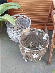 Sale 8566 - Lot 1476 - Pair of Brass Planters