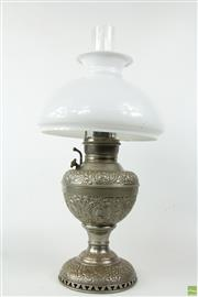 Sale 8581 - Lot 43 - Brass Tilley Lamp with Shade
