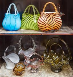 Sale 9103M - Lot 414 - A collection of coloured art glass baskets including purse examples.