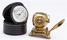Sale 9099 - Lot 52 - Deskwares to include a brass divers helmet form pen holder and a travel clock. Height of helmet 8cm