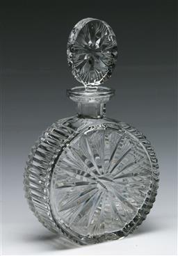 Sale 9153 - Lot 88 - A Heavily Cut Crystal Decanter, of circular form with original stopper H26cm,