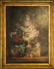 Sale 8418A - Lot 64 - A large and impressive decorative Still Life- Flowers in gilt frame, total H 148 x W 115cm