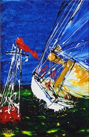 Sale 8565 - Lot 512 - Dean Vella (1958 - ) - Cutting the Buoy 73.5 x 48cm