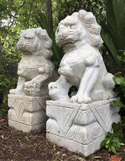 Sale 8706A - Lot 13 - A pair of large carved marble temple foo dogs carved from one piece of marble, H 60 x W 29cm