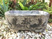 Sale 8772A - Lot 37 - A Unique Hand Carved Stone Planter  / Pond Water Trough Depicting Fish And Lotus Motif General Wear , Size 59cm L x 38 cm W x 27cm H