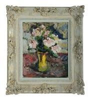 "Sale 8888H - Lot 89 - ""Bouquet au vase""by Jose Wolff 1885-1964 French impressionist oil on board signed 47 x 39 cm in a period French carved frame."