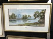 Sale 9033 - Lot 2019 - W Lindley, River scene with livestock, watercolour, 38 x 59cm (frame), signed lower right