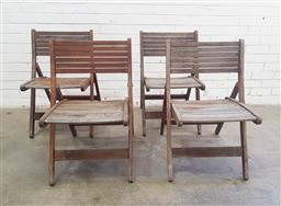 Sale 9102 - Lot 1280 - Set of four timber folding deck chairs (h80 x w48 x74cm)