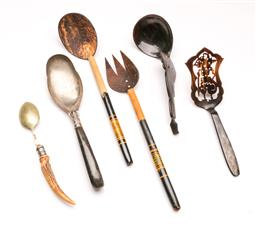 Sale 9110 - Lot 49 - A collection of African and Indonesian serving utensils to include horn-handled examples