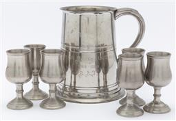 Sale 9099 - Lot 53 - A small collection of pewter wares, 13cm