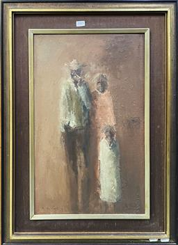 Sale 9152 - Lot 2005 - Tony Costa Aboriginal Family Portrait oil on canvas on board, 73 x 53cm (frame) signed lower left