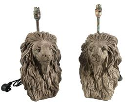 Sale 9200P - Lot 87 - A pair of cast stone lion head table lamps with copper/ brass fittings, re-wired to Australian standards, total Height 36cm