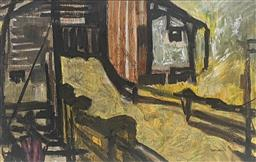 Sale 9257A - Lot 5001 - GEORGE DUNCAN (1940 - 1974) Farmer at Work. c1940 oil on paper 23 x 36 cm (frame: 47 x 59 cm) signed lower right