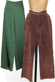 Sale 8173F - Lot 346 - A PAIR OF GREEN SATIN CHARLIE BROWN PANTS AND PAIR OF CHORDS; both 8