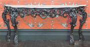 Sale 8222 - Lot 21 - A oversized elaborately detailed marble top console table (marble in three parts), H 111, W 265, D 73cm